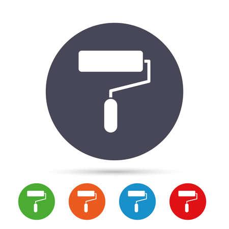 ペイント ローラー印アイコン。絵画ツール記号です。フラット アイコンと丸いカラフルなボタン。ベクトル  イラスト・ベクター素材