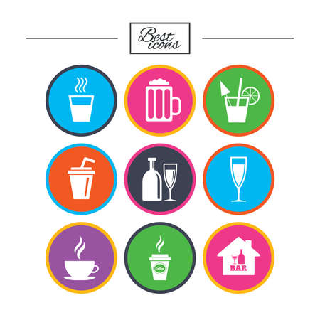 Cocktail, beer icons. Coffee and tea drinks. Soft and alcohol drinks symbols. Classic simple flat icons. Vector 向量圖像