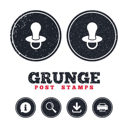 Grunge post stamps. Babys dummy sign icon. Child pacifier symbol. Information, download and printer signs. Aged texture web buttons. Vector