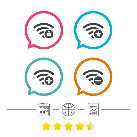 Wifi Wireless Network icons. Wi-fi zone add or remove symbols. Favorite star sign. Password protected Wi-fi. Calendar, internet globe and report linear icons. Star vote ranking. Vector