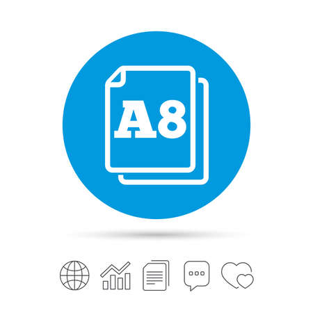 a8: Paper size A8 standard icon. File document symbol. Copy files, chat speech bubble and chart web icons. Vector