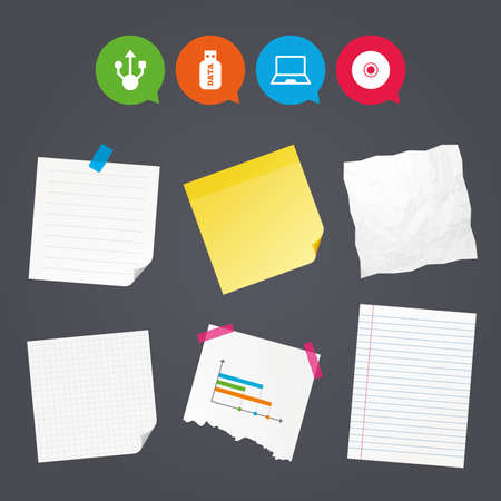 pc icon: Business paper banners with notes. Usb flash drive icons. Notebook or Laptop pc symbols. CD or DVD sign. Compact disc. Sticky colorful tape. Speech bubbles with icons. Vector