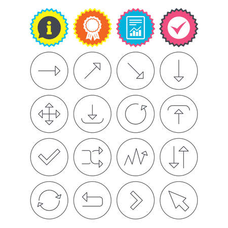Report, information and award signs. Arrows line icons. Download, upload, check or tick symbols. Refresh, fullscreen and shuffle thin outline signs. Check tick symbol. Flat buttons. Vector Illustration