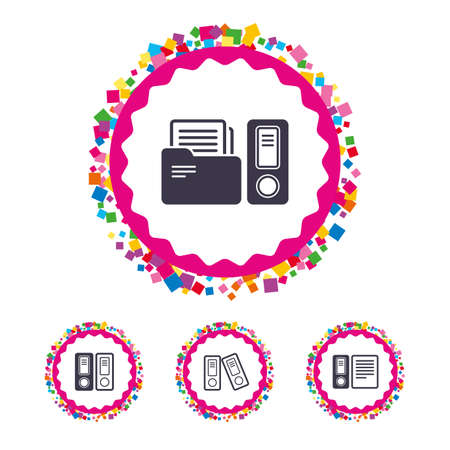 Web buttons with confetti pieces. Accounting icons. Document storage in folders sign symbols. Bright stylish design. Vector