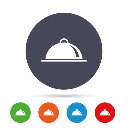 Plateau alimentaire servant signe icône . réglage de la table dans le symbole de restaurant . boutons ronds et colorés avec l & # 39 ; icône . vecteur Banque d'images - 78000911