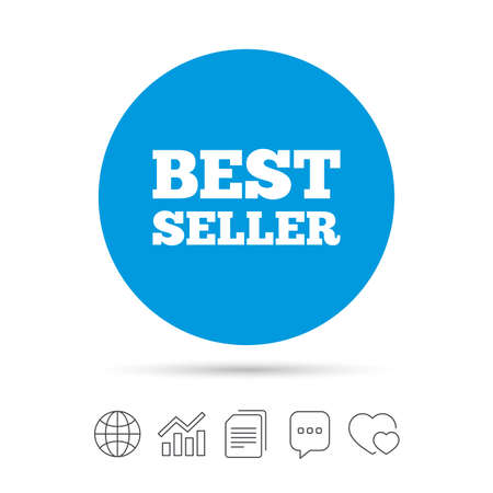 Best seller sign icon. Best seller award symbol. Copy files, chat speech bubble and chart web icons. Vector Illustration