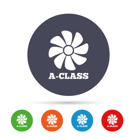 A-class ventilation icon. Energy efficiency sign symbol. Round colourful buttons with flat icons. Vector Ilustrace