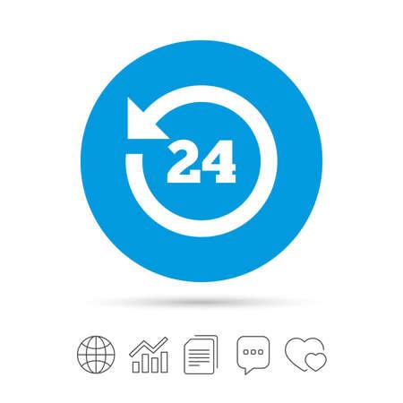24 uur klantenservice. Rond de klok ondersteuningssymbool. Kopieer bestanden, praat tekstballonnen en grafiek web iconen. Vector