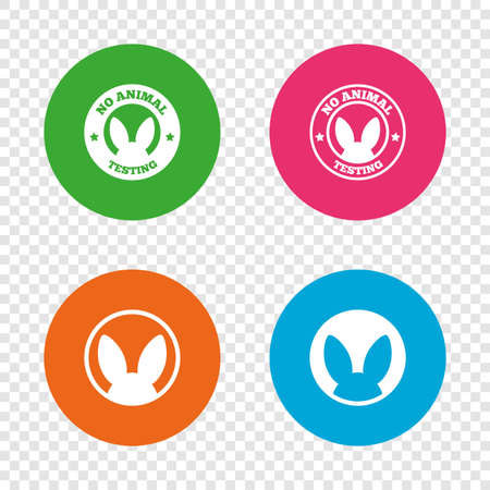 No animals testing icons. Non-human experiments signs symbols. Round buttons on transparent background. Vector