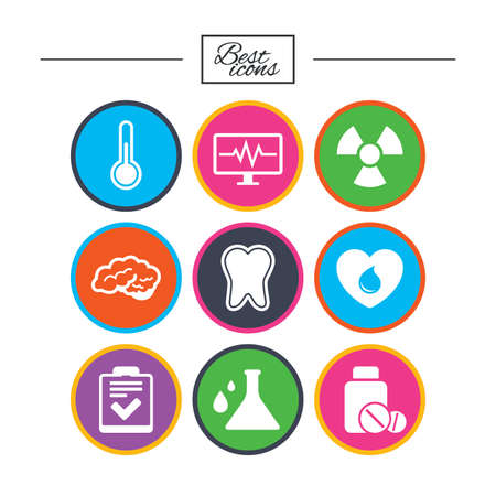 Medicine, medical health and diagnosis icons. Blood donate, thermometer and pills signs. Tooth, neurology symbols. Classic simple flat icons. Vector Reklamní fotografie - 78000847