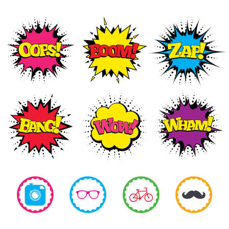 Comic Wow, Oops, Boom and Wham sound effects. Hipster photo camera with mustache icon. Glasses symbol. Bicycle family vehicle sign. Zap speech bubbles in pop art. Vector