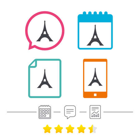 vintage telephone: Eiffel tower icon. Paris symbol. Calendar, chat speech bubble and report linear icons. Star vote ranking. Vector Illustration