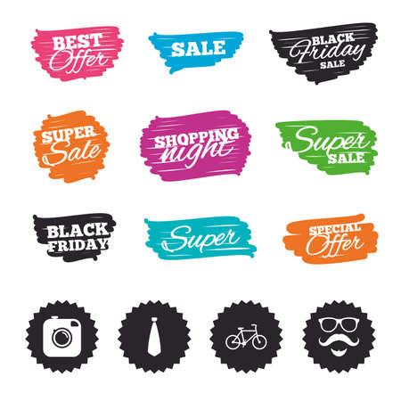 Ink brush sale banners and stripes. Hipster photo camera. Mustache with beard icon. Glasses and tie symbols. Bicycle sign. Special offer. Ink stroke. Vector