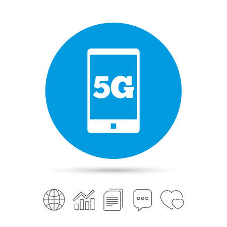 5G sign icon. Mobile telecommunications technology symbol. Copy files, chat speech bubble and chart web icons. Vector