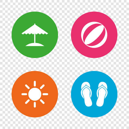 Beach holidays icons. Ball, umbrella and flip-flops sandals signs. Summer sun symbol. Round buttons on transparent background. Vector Illustration