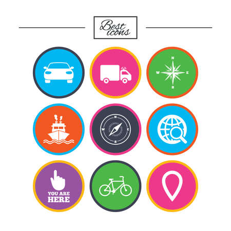 Navigation, gps icons. Windrose, compass and map pointer signs. Bicycle, ship and car symbols. Classic simple flat icons. Vector