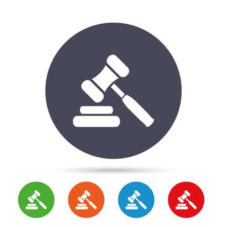 Veiling hamer pictogram. Recht rechter hamer symbool. Ronde kleurrijke knoppen met plat pictogrammen. Vector Stock Illustratie