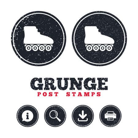 Grunge post stamps. Roller skates sign icon. Rollerblades symbol. Information, download and printer signs. Aged texture web buttons. Vector