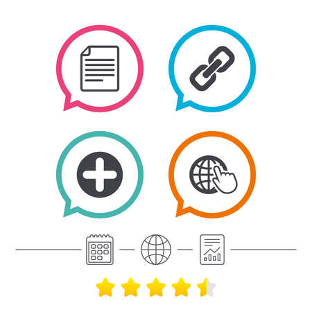 Plus add circle and hyperlink chain icons. Document file and globe with hand pointer sign symbols. Calendar, internet globe and report linear icons. Star vote ranking. Vector