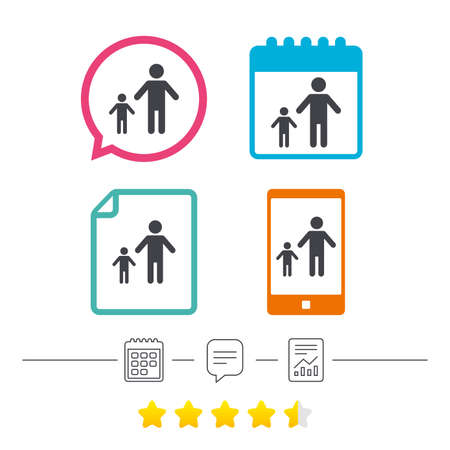 One-parent family with one child sign icon. Father with son symbol. Calendar, chat speech bubble and report linear icons. Star vote ranking. Vector Illustration