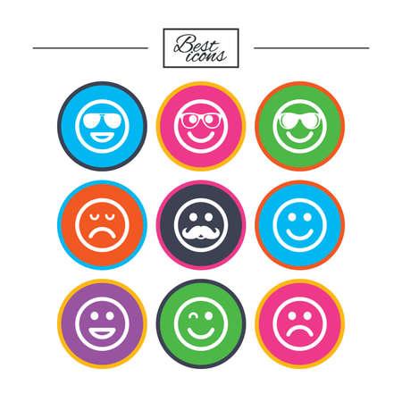 笑顔のアイコン。幸せ、悲しい、ウインク印に直面しています。サングラス、口ひげ、笑絵文字シンボルを笑っています。古典的なシンプルなフラ