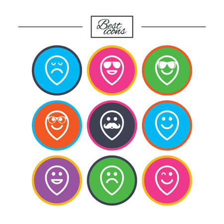 笑顔のポインター アイコン。幸せ、悲しい、ウインク印に直面しています。サングラス、口ひげ、笑絵文字シンボルを笑っています。古典的なシン