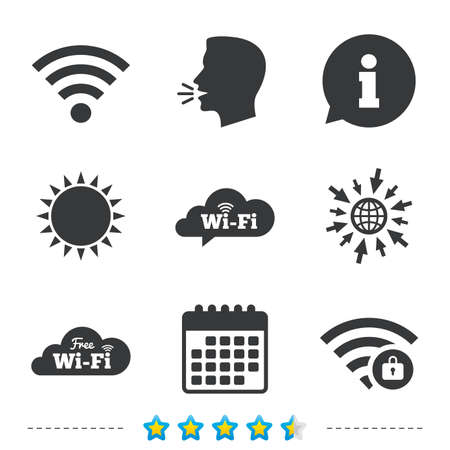 Free Wifi Wireless Network cloud speech bubble icons. Wi-fi zone locked symbols. Password protected Wi-fi sign. Information, go to web and calendar icons. Sun and loud speak symbol. Vector Ilustração