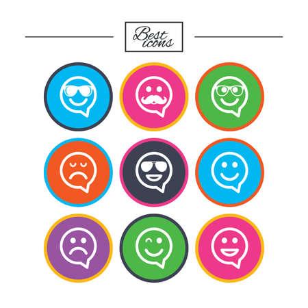 笑顔のスピーチの泡アイコン。幸せ、悲しい、ウインク印に直面しています。サングラス、口ひげ、笑絵文字シンボルを笑っています。古典的なシ  イラスト・ベクター素材
