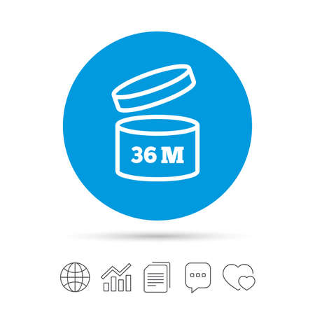 After opening use 36 months sign icon. Expiration date. Copy files, chat speech bubble and chart web icons. Vector