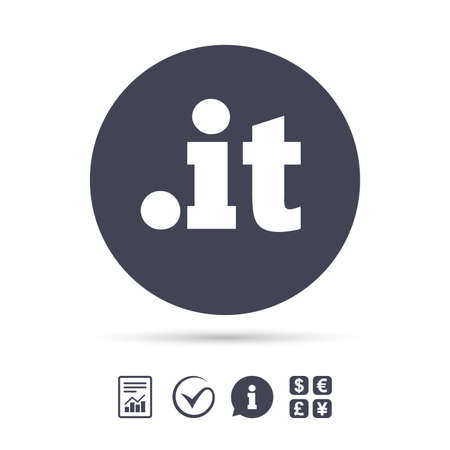 Domain IT sign icon. Top-level internet domain symbol. Report document, information and check tick icons. Currency exchange. Vector