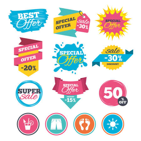 Sale banners, online web shopping. Beach holidays icons. Cocktail, human footprints and swimming trunks signs. Summer sun symbol. Website badges. Best offer. Vector Illustration
