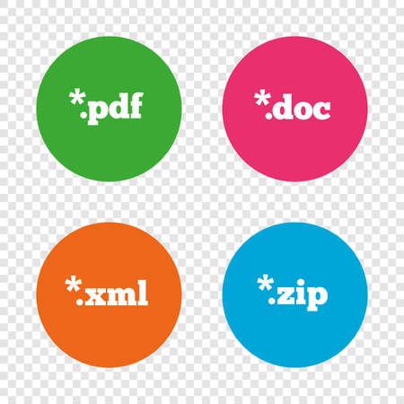 アイコンを文書化します。ファイル拡張子のシンボル。PDF、ZIP 圧縮、XML およびドキュメントに署名します。透明の背景上の丸いボタン。ベクトル  イラスト・ベクター素材