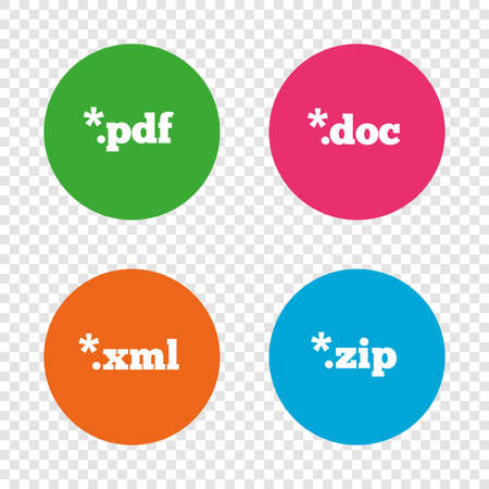 markup: Document icons. File extensions symbols. PDF, ZIP zipped, XML and DOC signs. Round buttons on transparent background. Vector