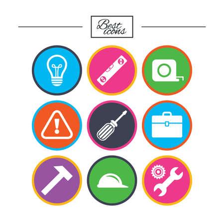Reparatur, Bau-Ikonen. Ingenieur-, Helm- und Schraubendreherzeichen. Lampe, Elektrizität und Aufmerksamkeit Symbole. Klassische einfache flache Symbole. Vektor Standard-Bild - 78000570