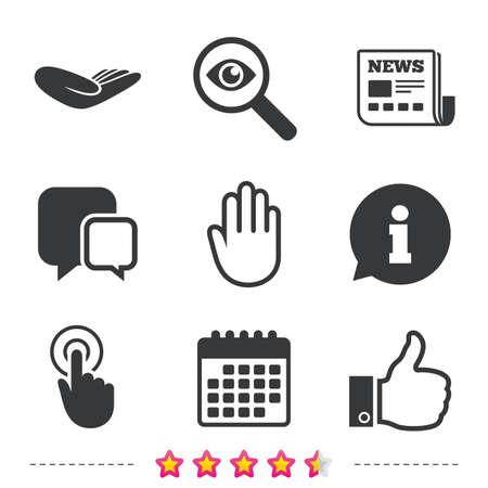 Hand pictogrammen. Leuk duim omhoog symbool. Klik hier en druk op teken. Donatie helpen. Krant, informatie en kalenderpictogrammen. Onderzoek vergrootglas, chat-symbool. Vector