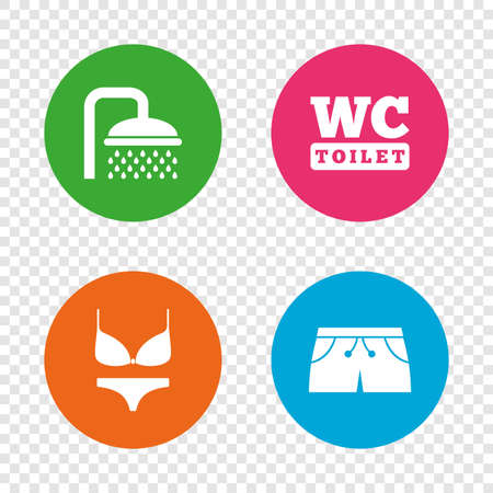 スイミング プールのアイコン。シャワーの水滴と水着のシンボル。トイレ トイレのサイン。トランクと女性下着。透明の背景上の丸いボタン。ベク