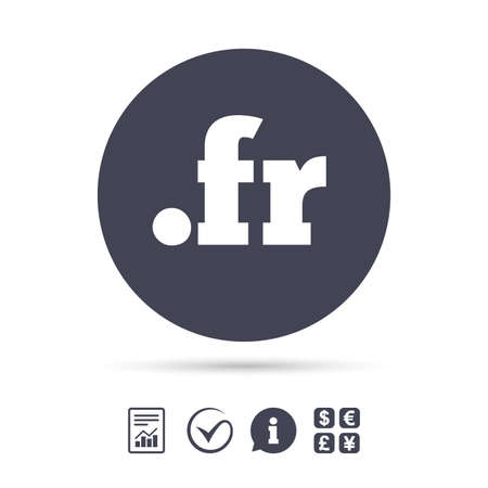 ドメイン FR 記号アイコン。最上位のインターネット ドメインのシンボル。ドキュメント、情報をレポートし、目盛りのアイコンをチェックします。