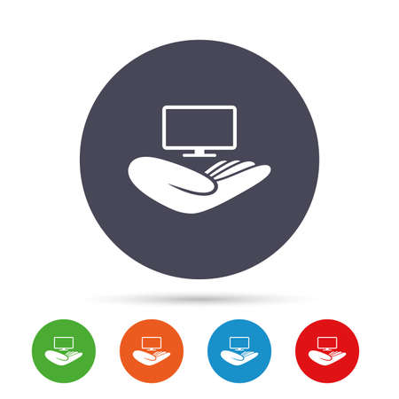TV insurance sign icon. Hand holds wide-screen TV symbol. Round colourful buttons with flat icons. Vector