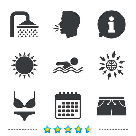 Swimming pool icons. Shower water drops and swimwear symbols. Human swims in sea waves sign. Trunks and women underwear. Information, go to web and calendar icons. Sun and loud speak symbol. Vector Illustration