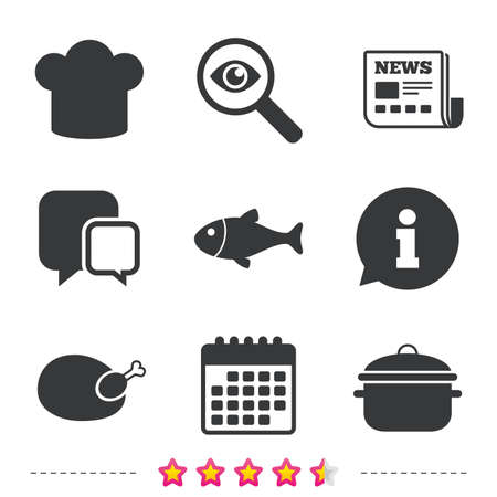 Chief hat and cooking pan icons. Fish and chicken signs. Boil or stew food symbol. Newspaper, information and calendar icons. Investigate magnifier, chat symbol. Vector Illustration
