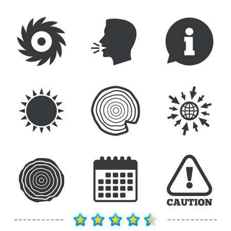 Holz und sah Kreis Rad-Symbole. Achtung Gefahrensymbol. Sägewerk oder Holzfabrik Zeichen. Informationen, gehen Sie zu Web-und Kalender-Icons. Sun und laut sprechen Symbol. Vektor Standard-Bild - 78000520