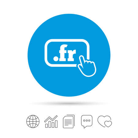 Domain FR sign icon. Top-level internet domain symbol with hand pointer. Copy files, chat speech bubble and chart web icons. Vector Stock Vector - 78000475