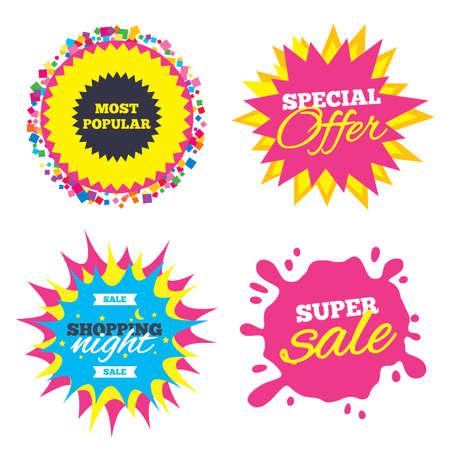 판매 시작 배너, 특별 제공 스타. 가장 인기있는 기호 아이콘입니다. 베스트셀러 기호. 밤하늘 레이블 쇼핑. 벡터