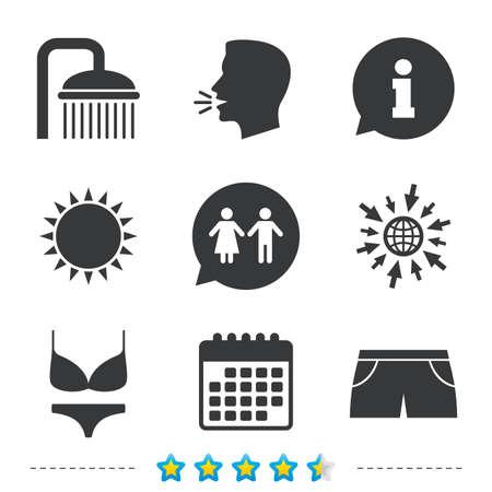 Zwembad pictogrammen. Douche waterdruppels en badmode symbolen. WC Toilet tekstballon teken. Trunks en damesondergoed. Informatie, ga naar web- en kalenderpictogrammen. Zon en luid spreken symbool. Vector