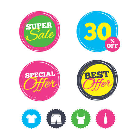 Super sale and best offer stickers. Clothes icons. T-shirt and bermuda shorts signs. Business tie symbol. Shopping labels. Vector Illustration