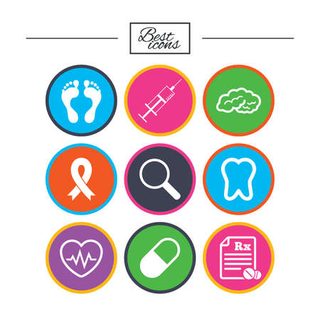 Medicine, medical health and diagnosis icons. Syringe injection, heartbeat and pills signs. Tooth, neurology symbols. Classic simple flat icons. Vector Reklamní fotografie - 78000486
