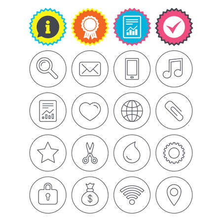 Report, information and award signs. Universal icons. Smartphone, mail and musical note. Heart, globe and share symbols. Paperclip, scissors and water drop. Check tick symbol. Flat buttons. Vector Illustration