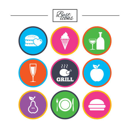 Food, drink icons. Grill, burger and ice cream signs. Chicken, champagne and apple symbols. Classic simple flat icons. Vector