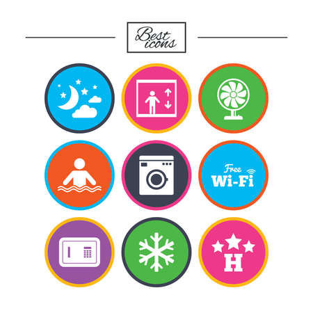 Hotel, apartment service icons. Washing machine. Wifi, air conditioning and swimming pool symbols. Classic simple flat icons. Vector Illustration
