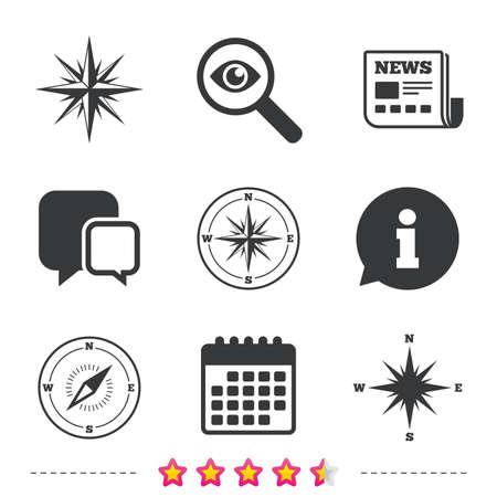 Windrose icone di navigazione. Simboli bussola Segno di sistema di coordinate. Icone di giornali, informazioni e calendario. Esamina la lente d'ingrandimento, il simbolo della chat. Vettore Archivio Fotografico - 78000411